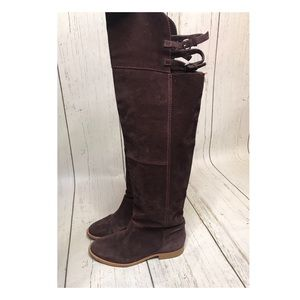 Zara Over the Knee Buckle Boots Burgundy